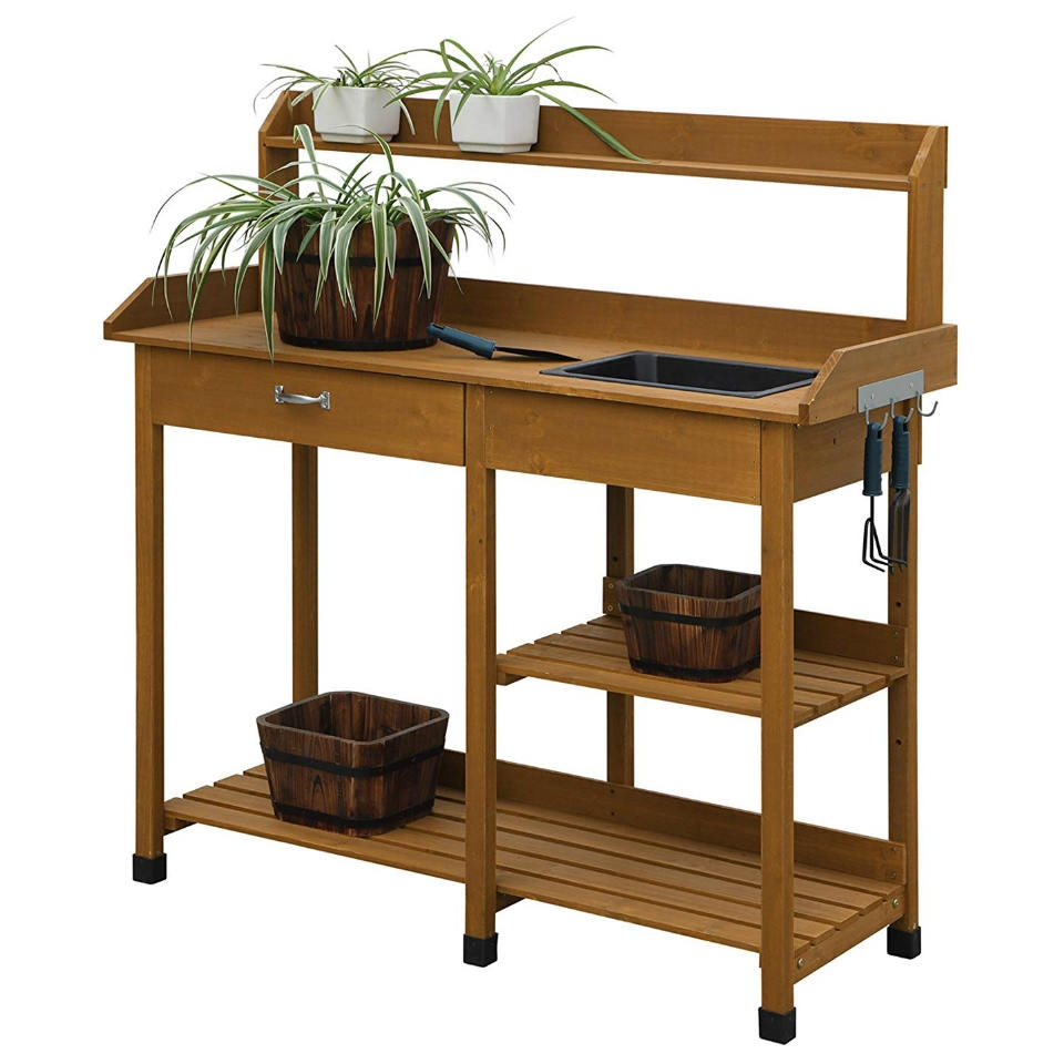 Modern Garden Potting Bench Table With Sink Storage Shelves Drawer Fastfurnishings
