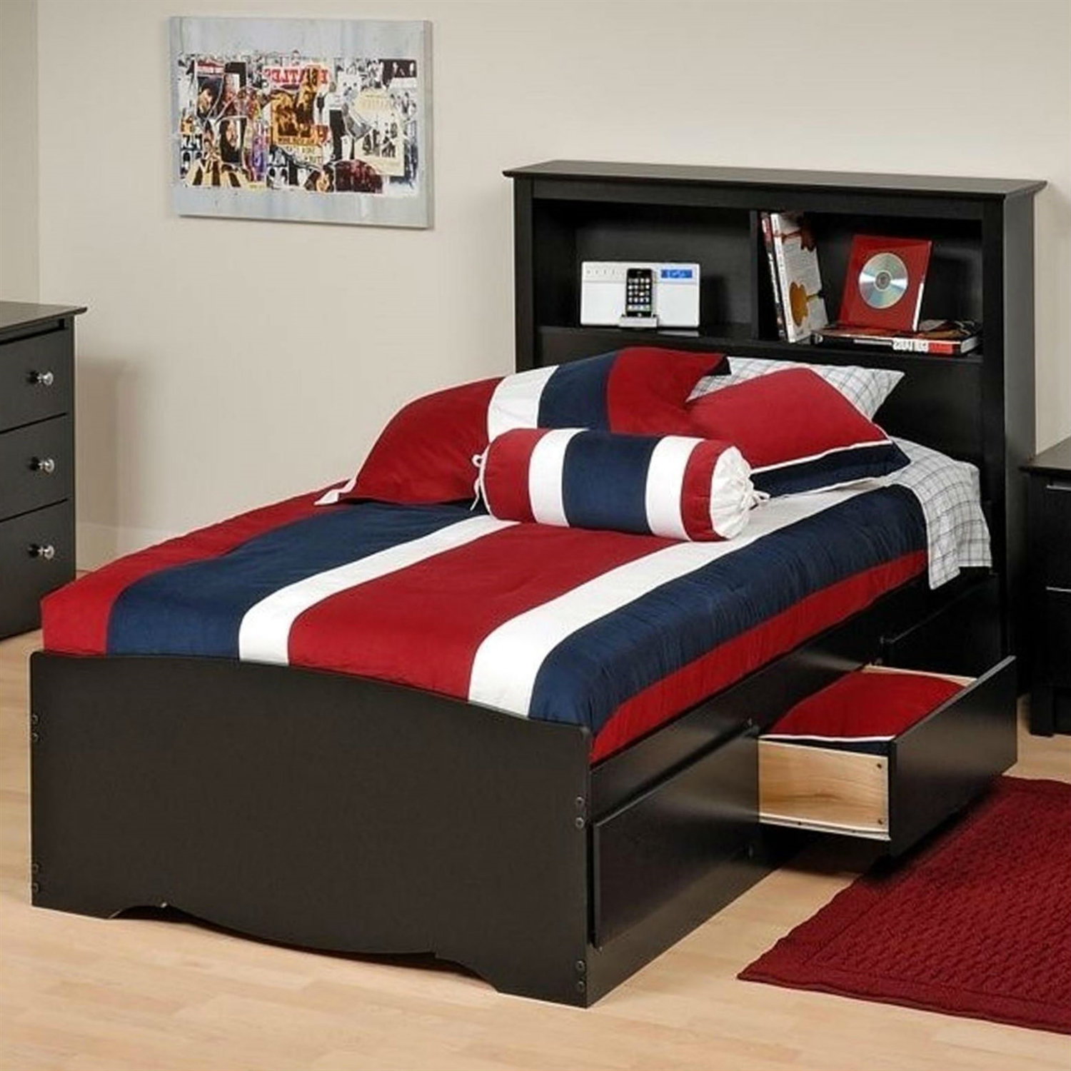Twin XL Platform Bed with Bookcase Headboard 3 Storage Drawers