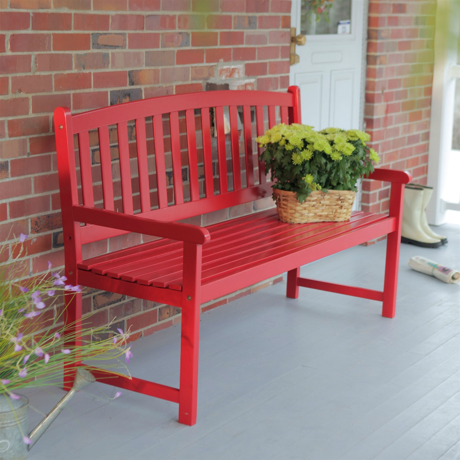 Cool 5 Ft Outdoor Garden Bench In Red Wood Finish With Armrest Squirreltailoven Fun Painted Chair Ideas Images Squirreltailovenorg