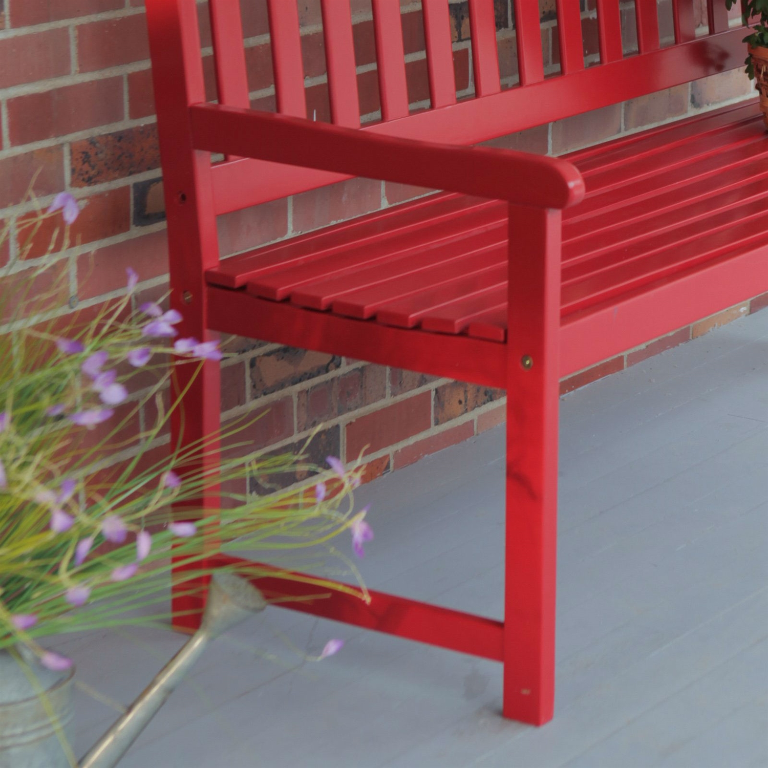 5 ft outdoor garden bench in red wood finish with armrest fastfurnishings com