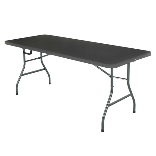 Black 6-Ft Centerfold Folding Table with Weather Resistant Top