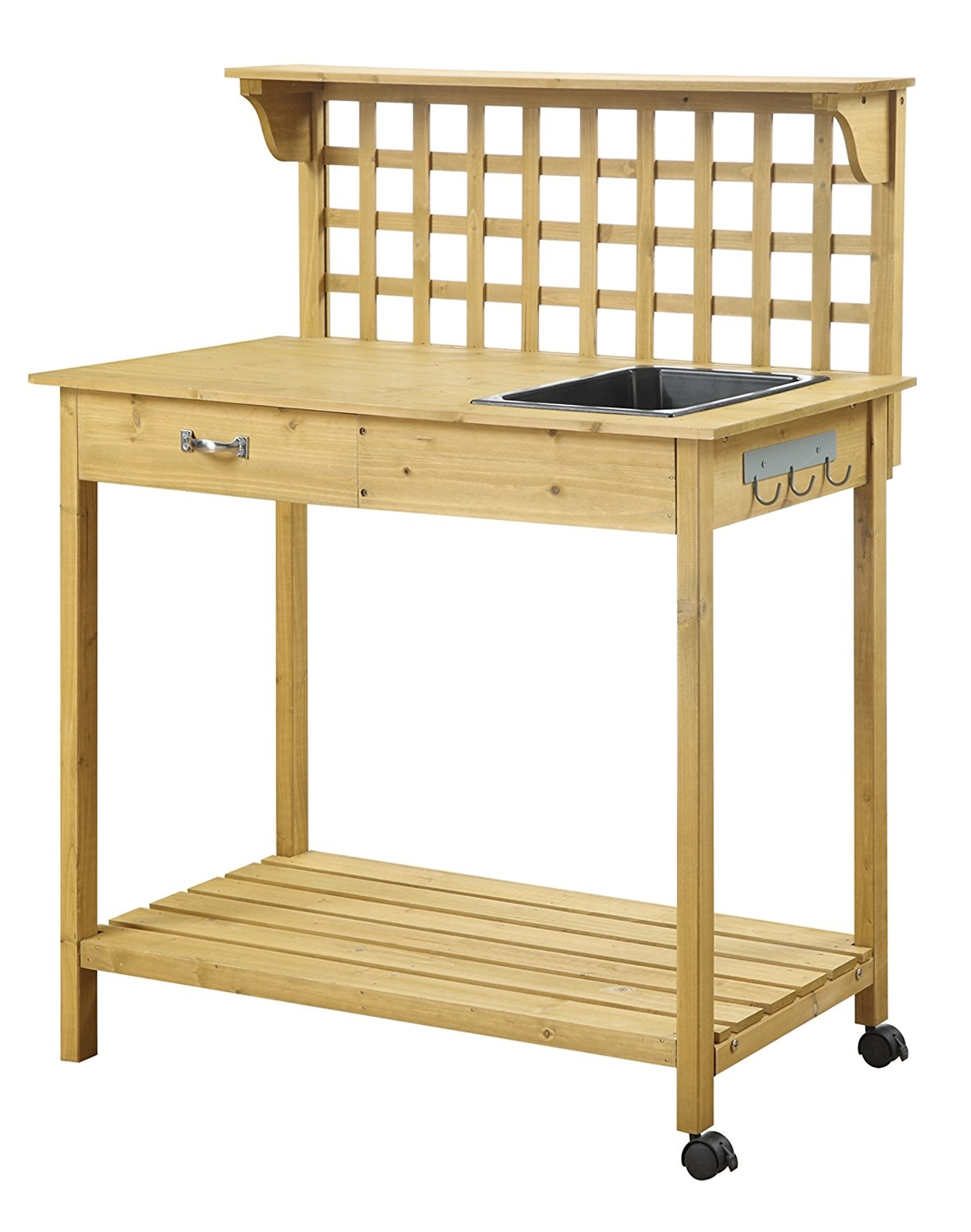 Picture of: Natural Wood Finish Potting Bench With Trellis Shelving And Sink Fastfurnishings Com