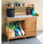 Natural Fir Wood Potting Bench with Galvanized Steel Table Top
