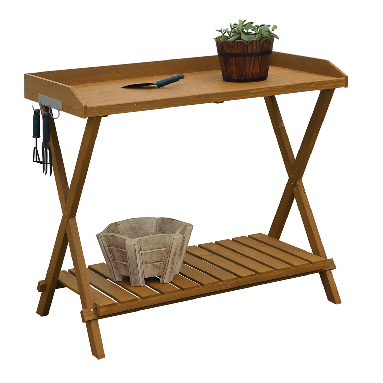 Outdoor Folding Garden Table Potting Bench With Slatted Bottom Fastfurnishings