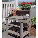 Outdoor Cedar Wood Potting Bench Bakers Rack Garden Storage Table in Gray