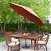9-Ft Push Button Tilt Patio Umbrella with Rust Red Orange Shade and Bronze Finish Pole