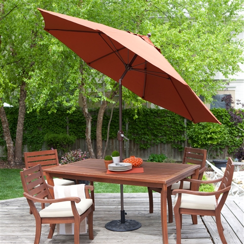 9 Ft Push Button Tilt Patio Umbrella With Rust Red Orange