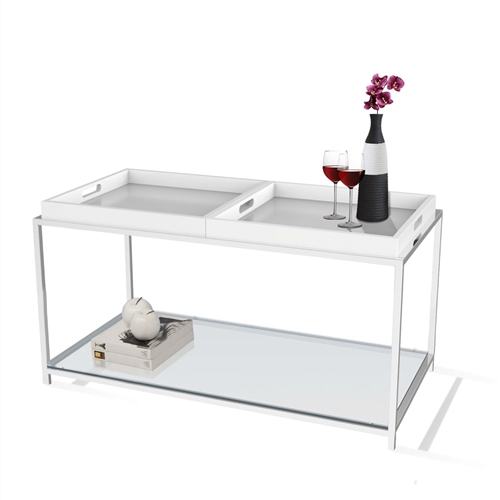 White Coffee Table Tray: Modern Chrome Metal Coffee Table With 2 White Removable