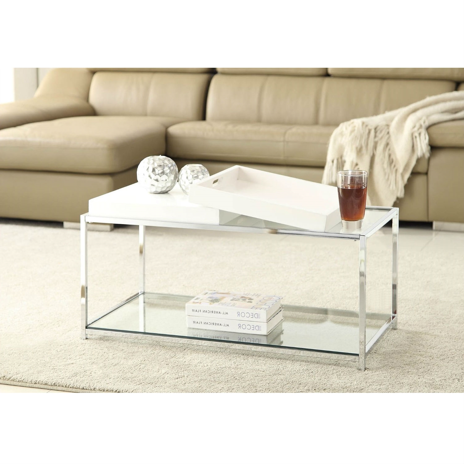 Modern chrome metal coffee table with 2 white removable trays retail price 19900 geotapseo Image collections