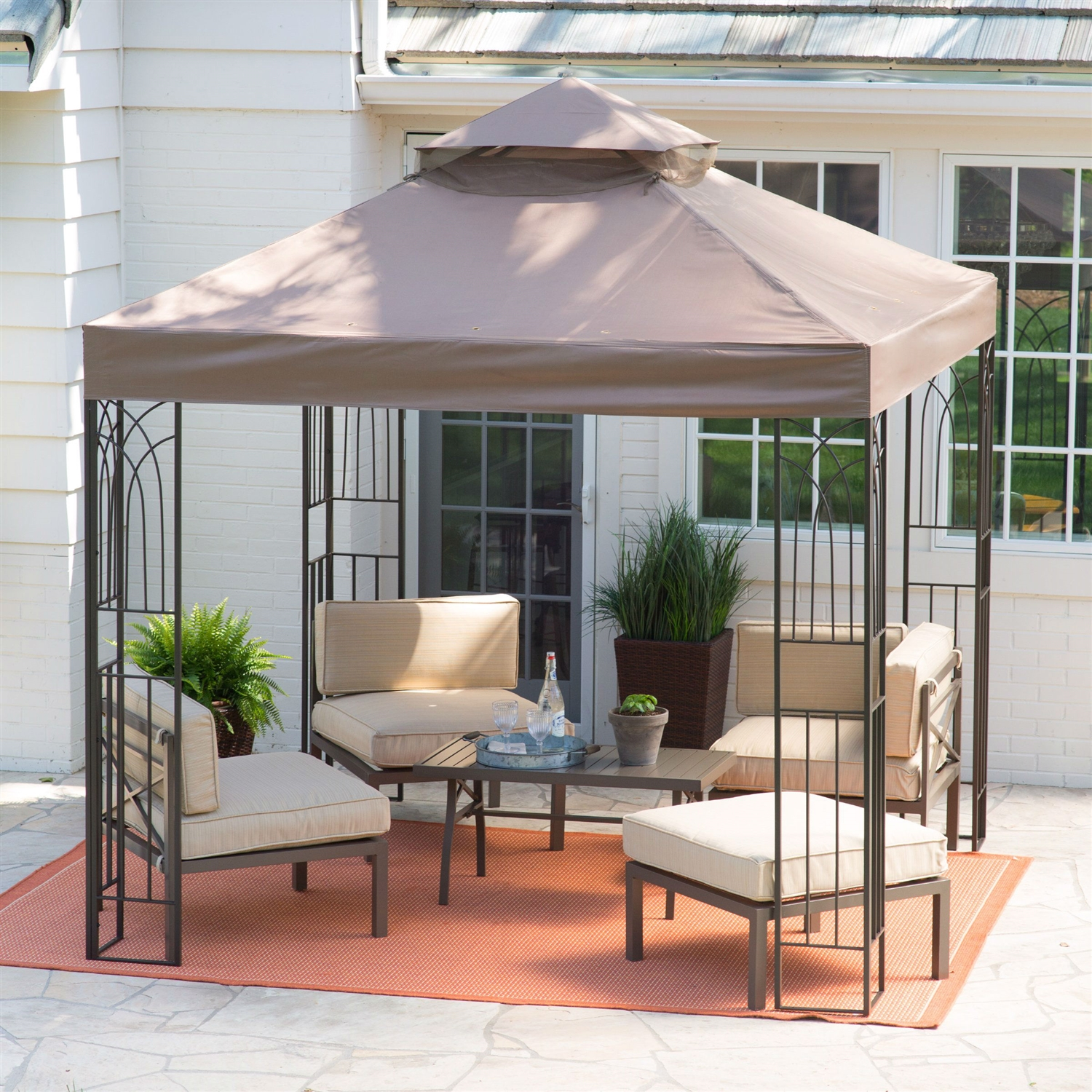 8 Ft X 8 Ft Steel Metal Frame Gazebo With Outdoor Weather Resistant Top