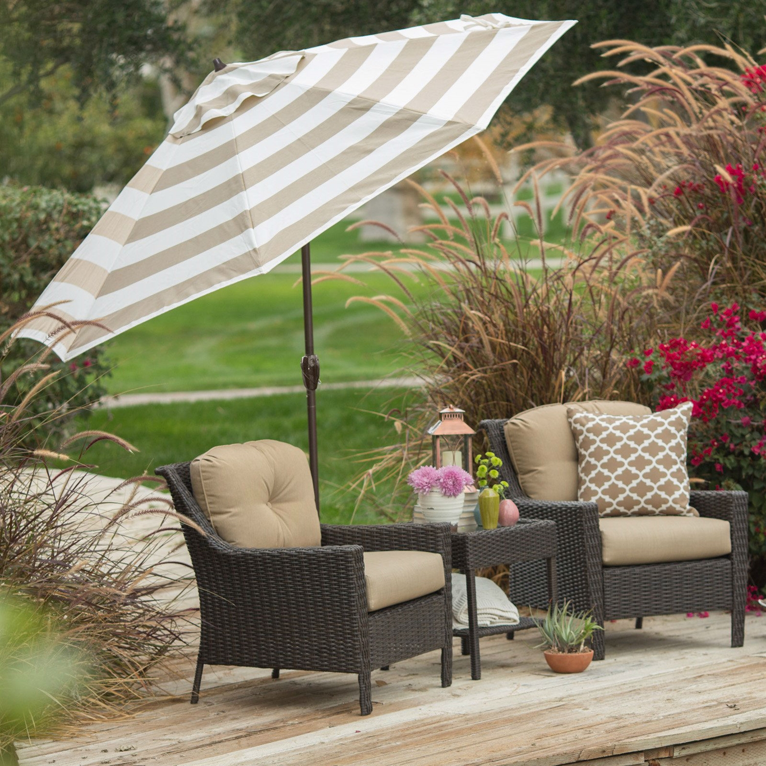 9 Ft Market Umbrella With Tilt And Crank Beige White Stripe Canopy Fastfurnishings