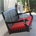 Black Wood 4-Ft Porch Swing with Sienna Red Cushion and Hardware