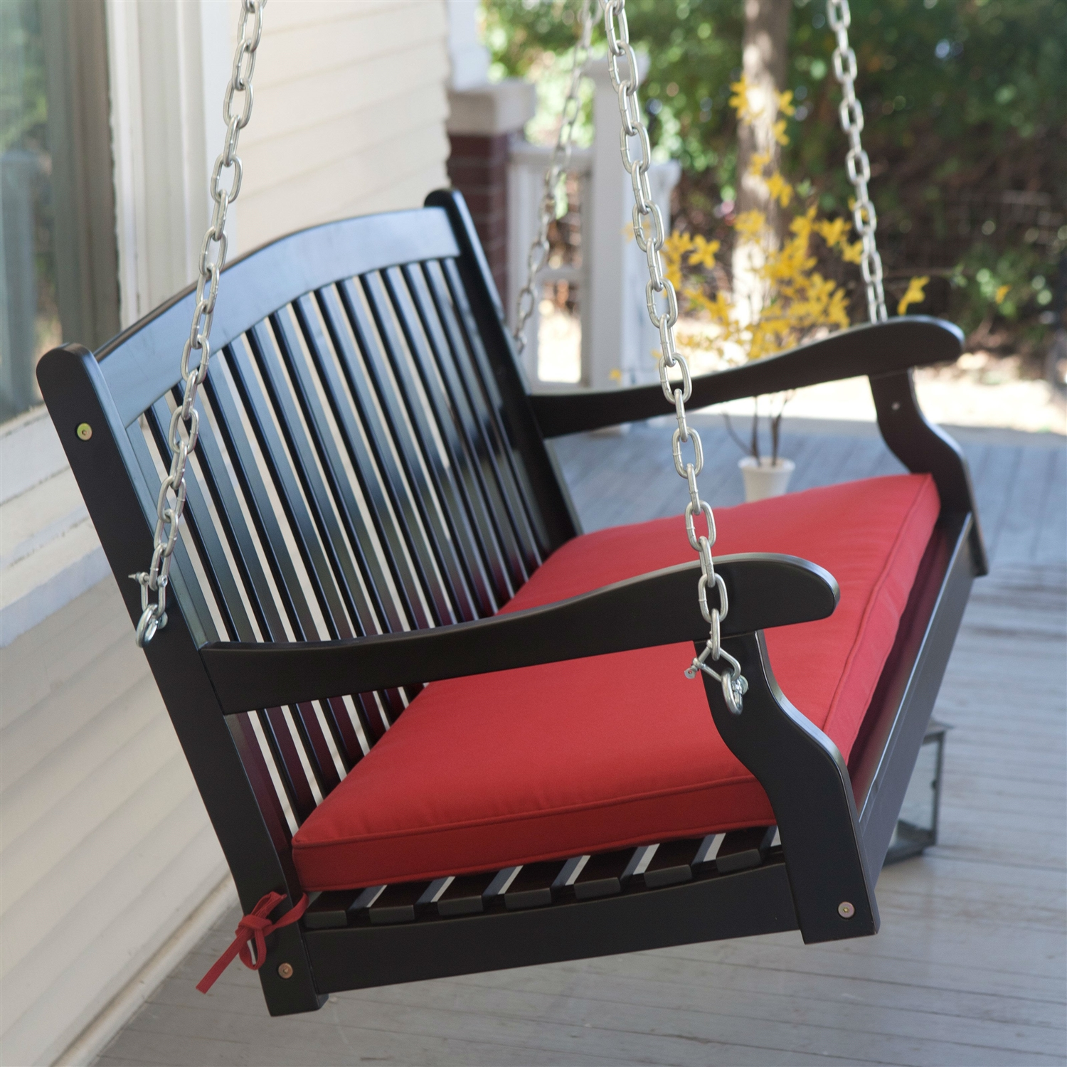 chair resin hanging chains wicker p ceiling bench swing tree black wchains hanger patio porch w