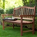 4-Ft Wood Garden Bench with Curved Arched Back and Armrests
