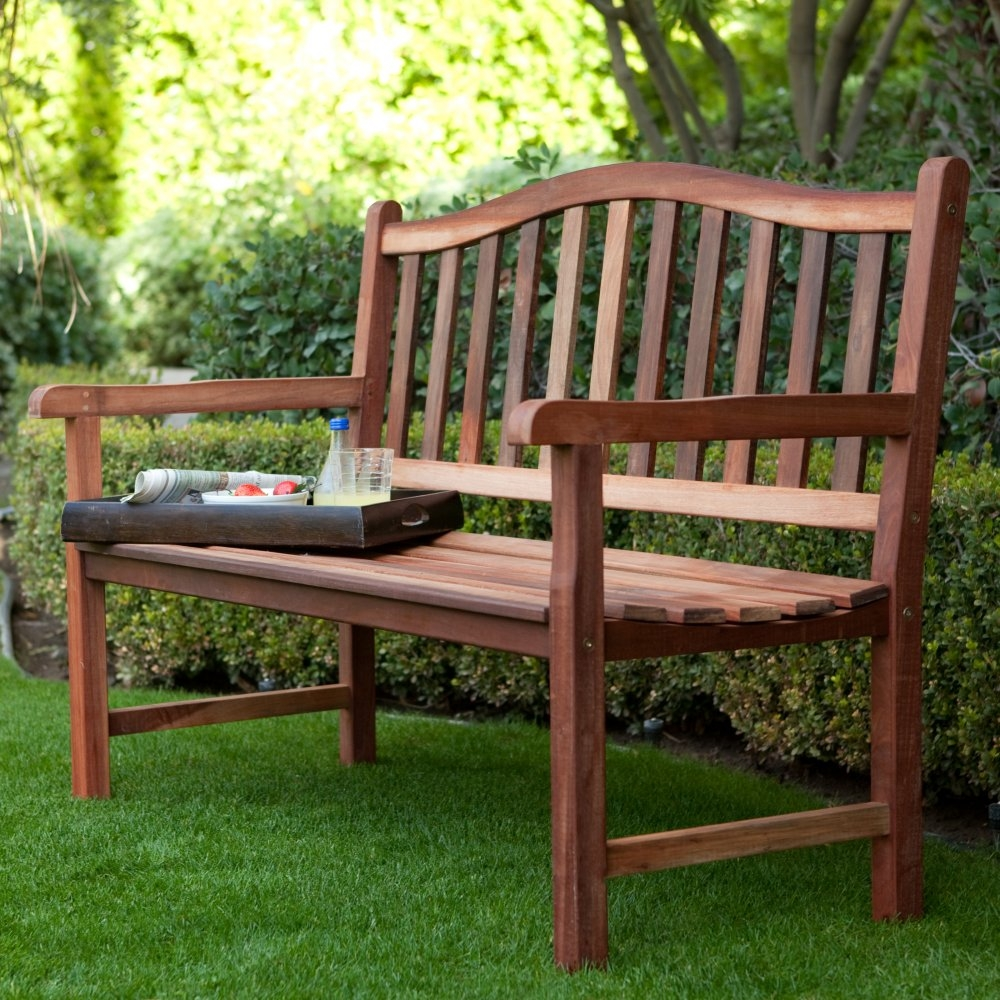 4-Ft Wood Garden Bench with Curved Arched Back and Armrests ...