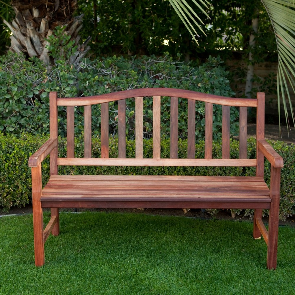 4 Ft Wood Garden Bench With Curved Arched Back And