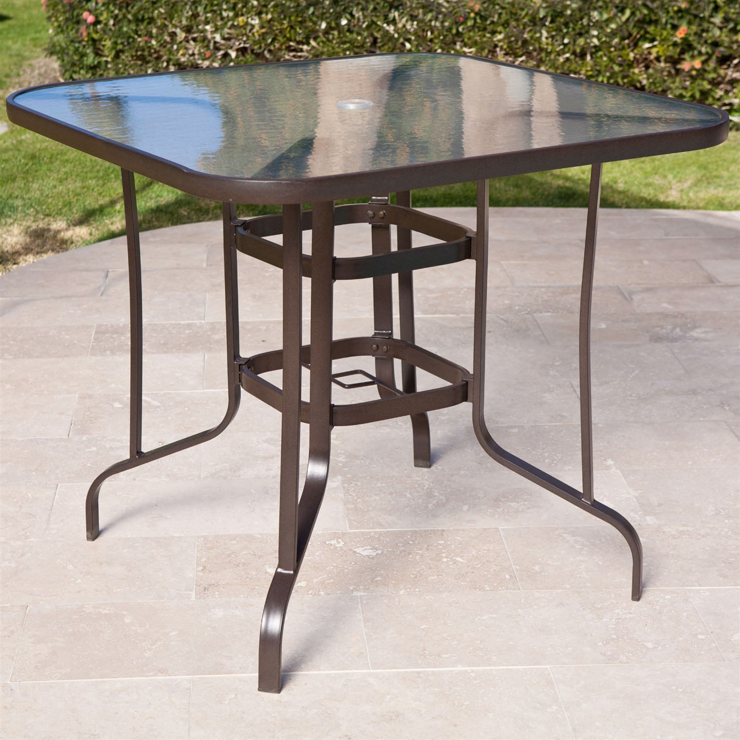 Outdoor round dining table - 40 Inch Outdoor Patio Dining Table With Glass Top And Umbrella Hole