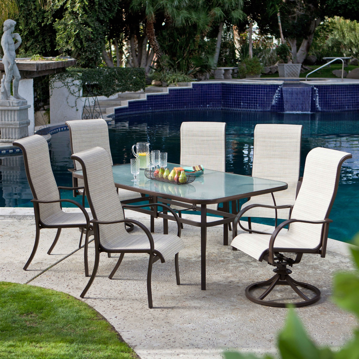 Rectangular glass top patio dining table with mocha brown frame 72 x rectangular glass top patio dining table with mocha brown frame 72 x 42 inch watchthetrailerfo