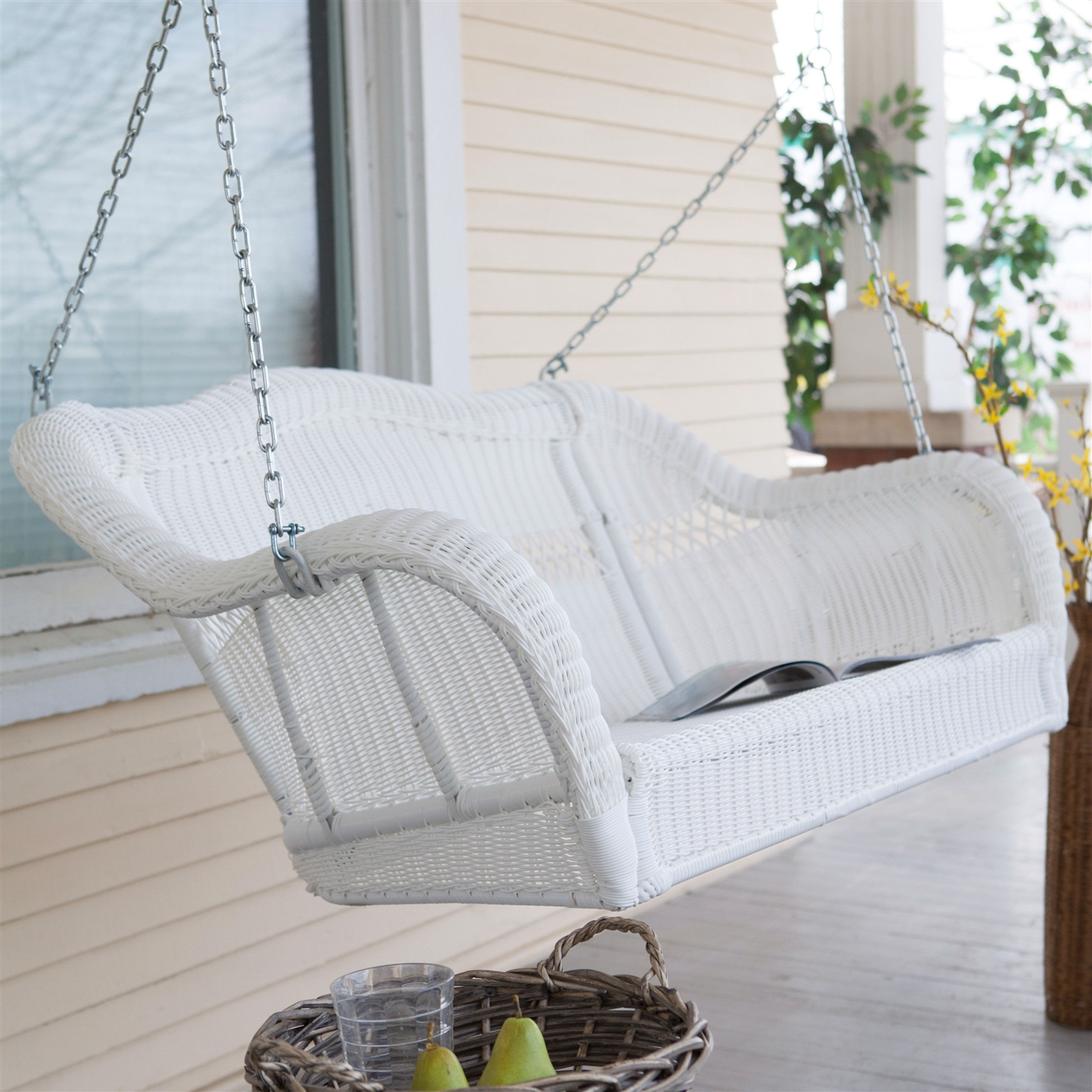 White Resin Wicker Porch Swing With Hanging Chain 600 Lb Weight