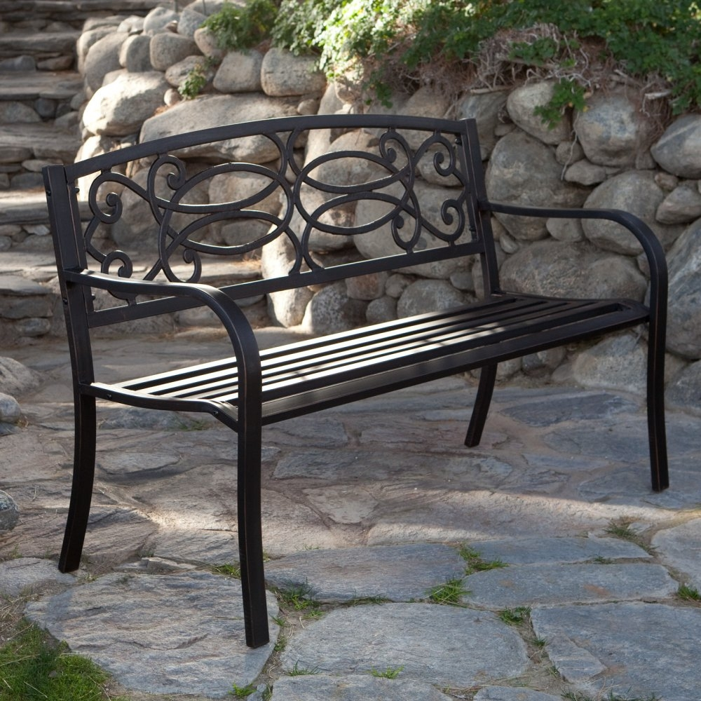 4 ft metal garden bench in antique black finish fastfurnishings com