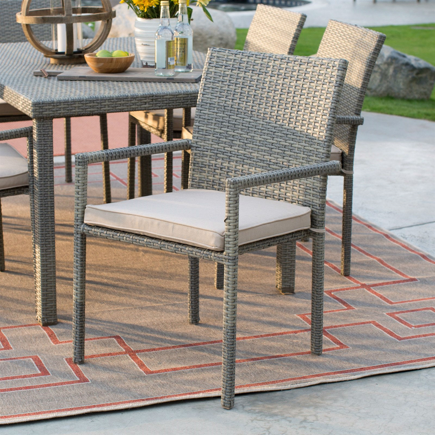 Outdoor Weather Resistant Resin Wicker Patio Dining Chair Arm