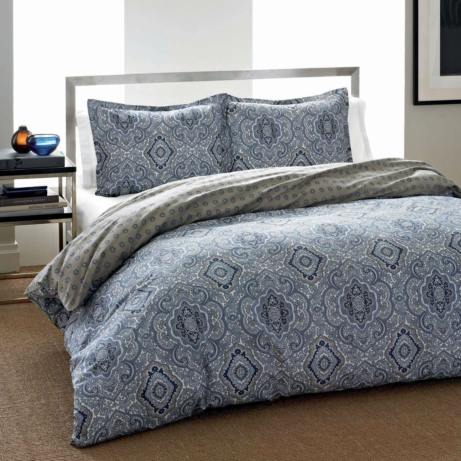 King 3 Piece Cotton Comforter Set With Blue Grey Damask Pattern