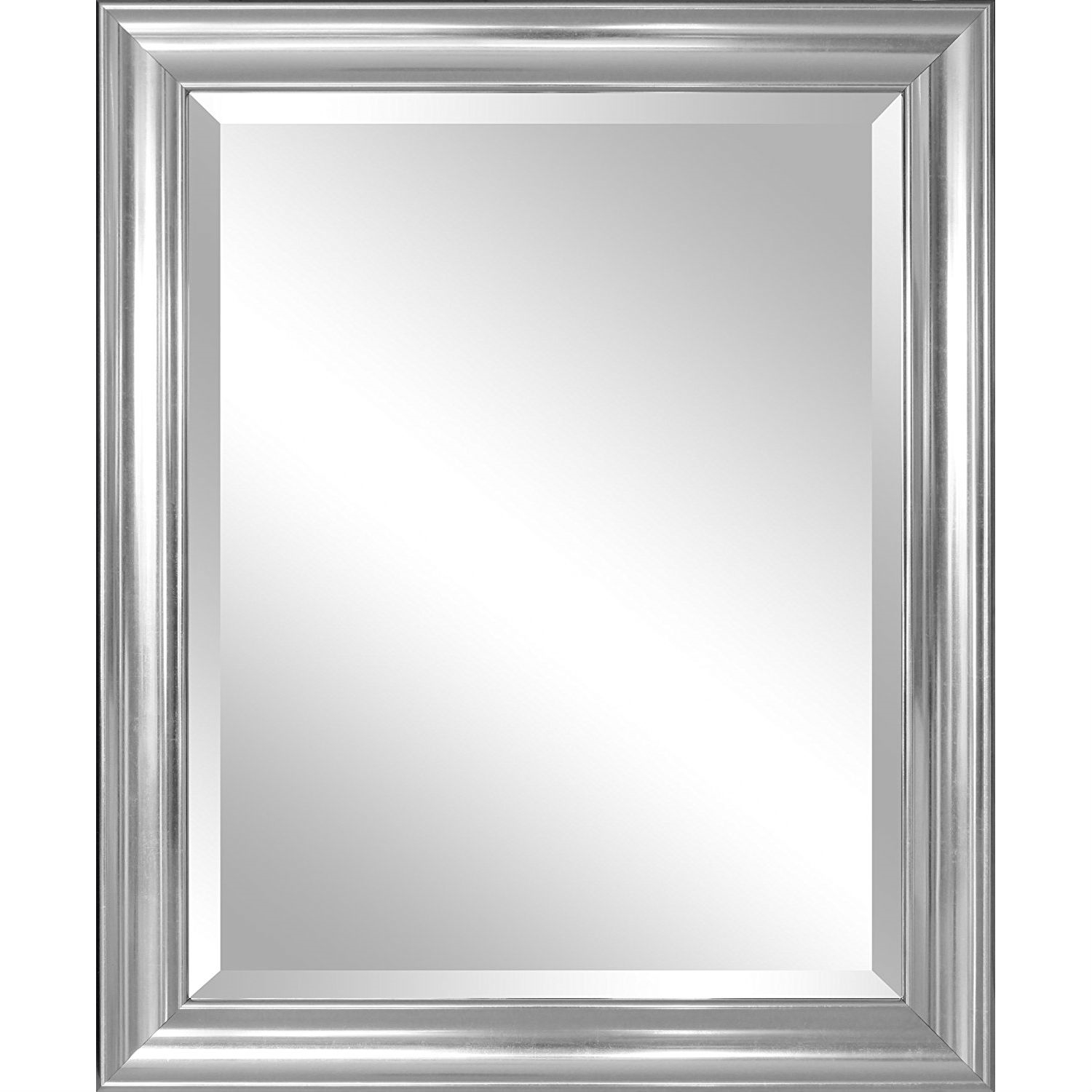 Bathroom Mirror With Silver Frame Hangs Vertically Or