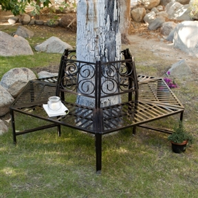 Tree Hugger Bench in All-Weather Black Metal  - Surrounds Tree