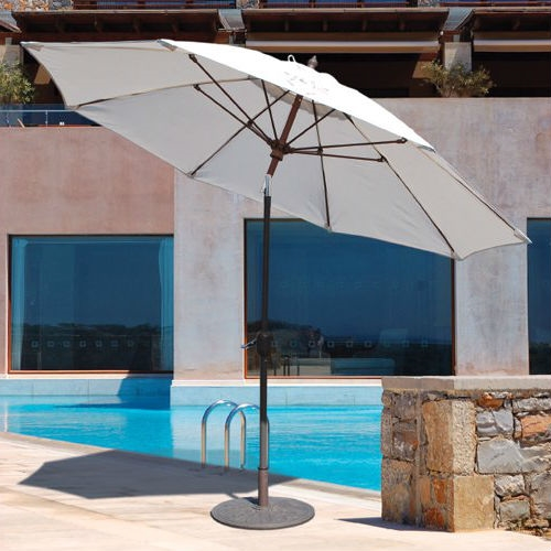 Outdoor 9-Ft Patio Umbrella with Khaki Canopy and Bronze Push Button Tilt Pole