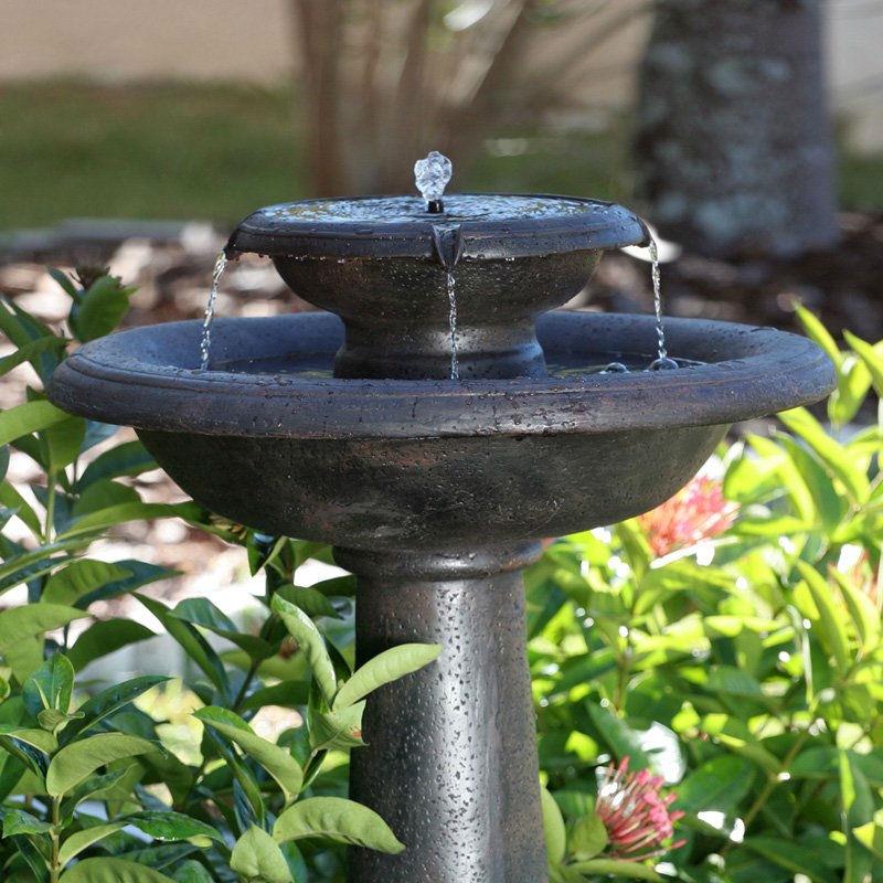 2 Tier Outdoor Solar Bird Bath Fountain