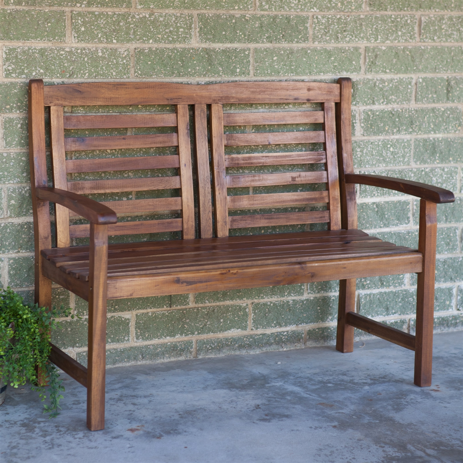Contemporary outdoor 2 seat garden bench with weather resistant wood finish