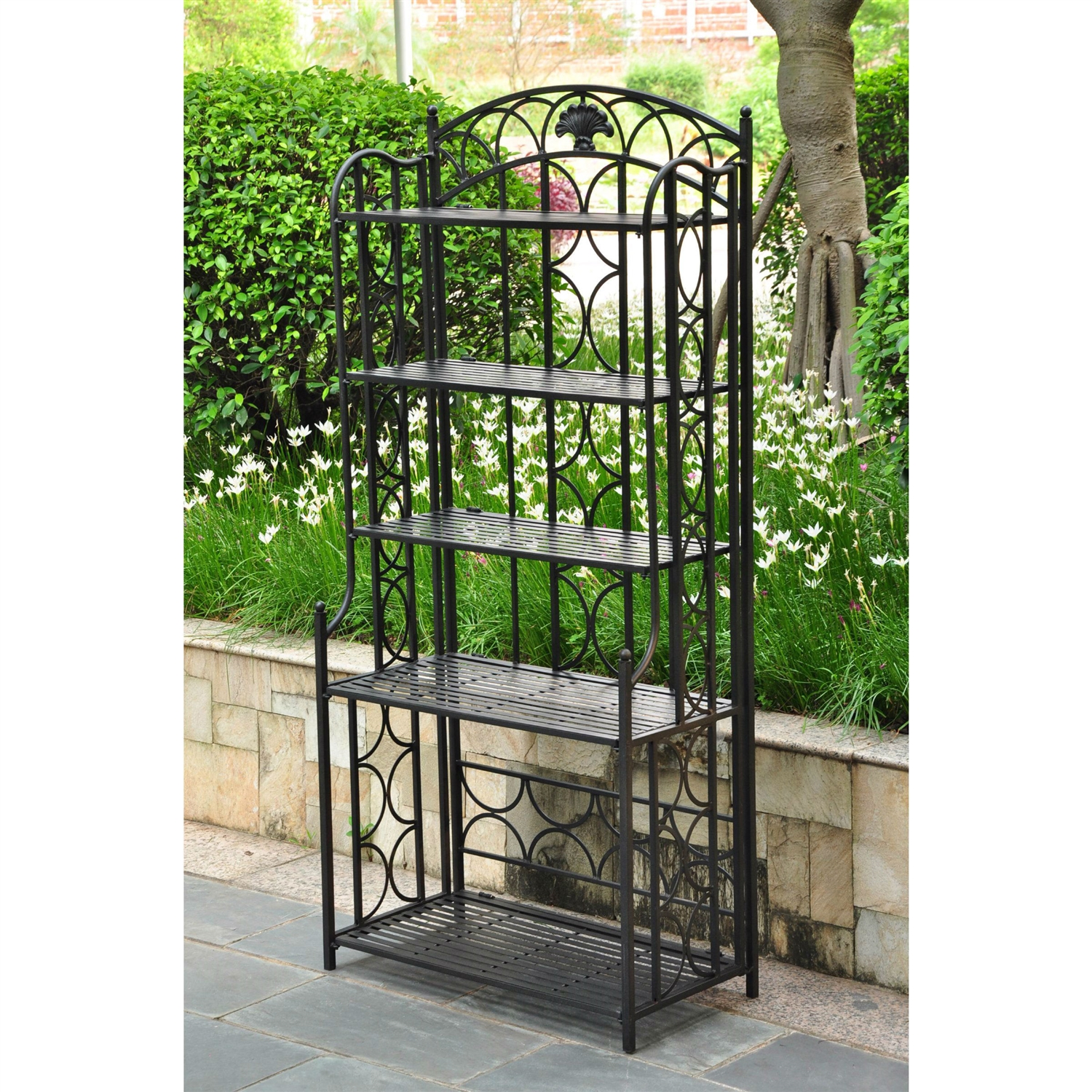indoor outdoor wrought iron metal bakers rack 5 shelf plant