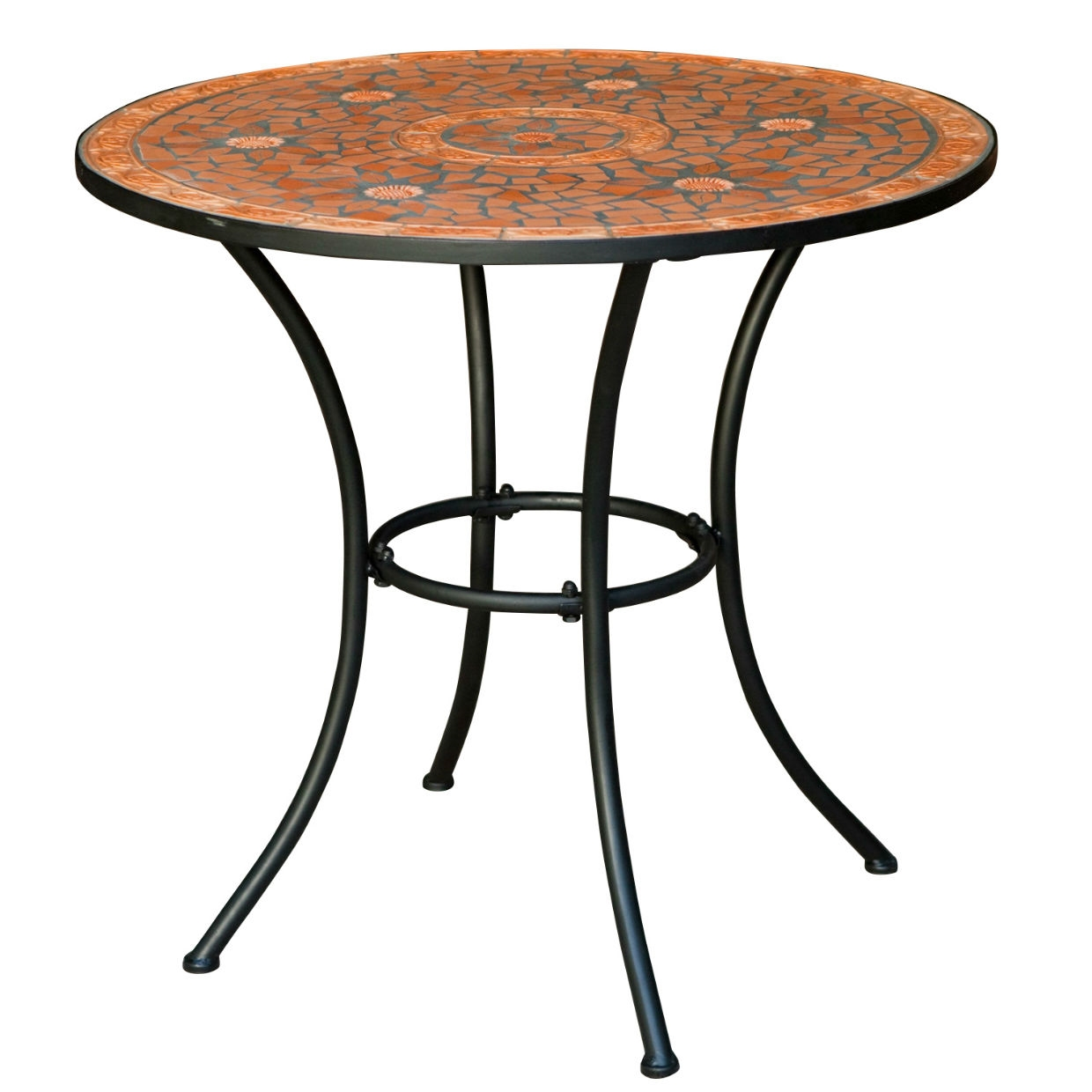 Round Outdoor Patio Bistro Table With Terracotta Mosaic Tiles And Black Metal  Frame