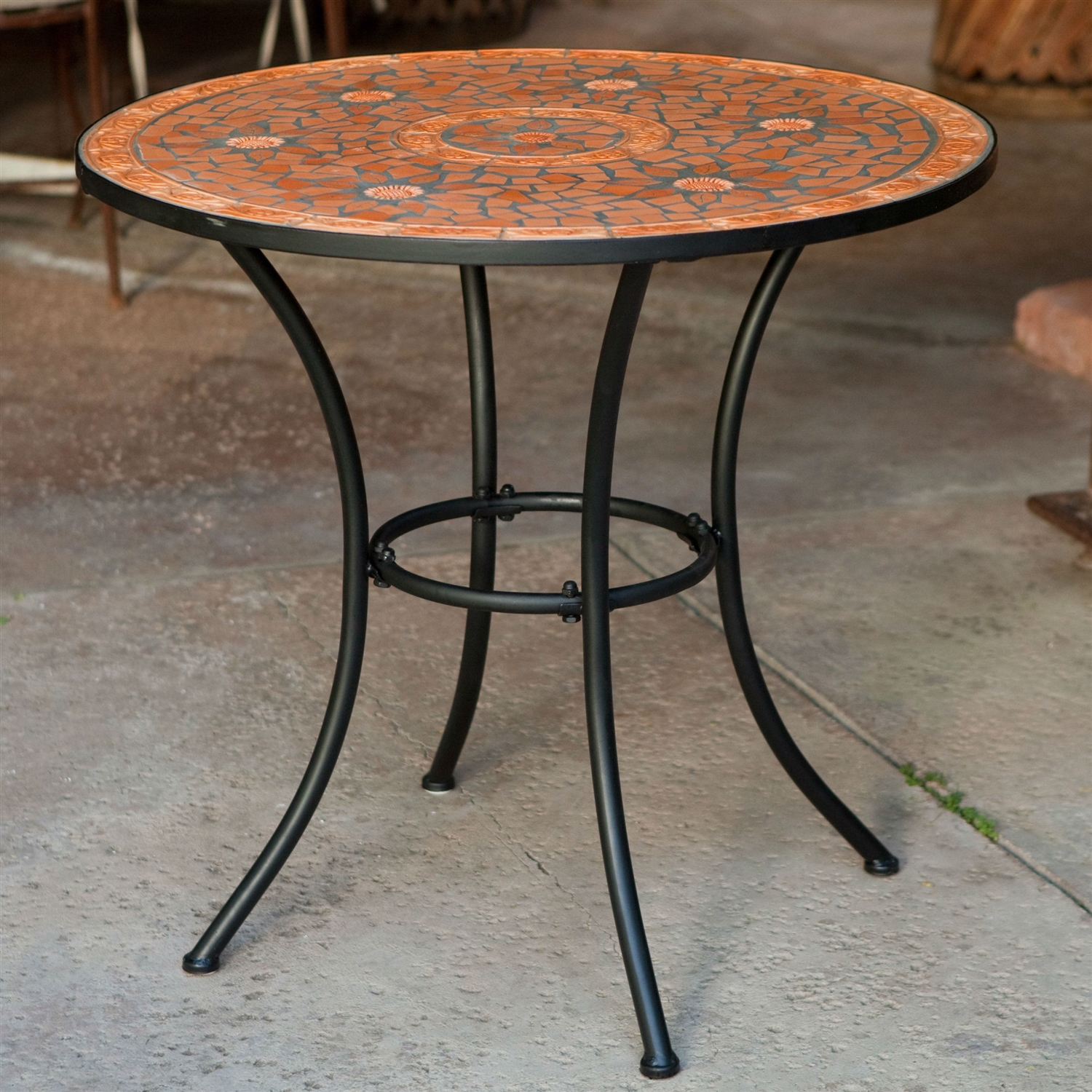 Round Outdoor Patio Bistro Table with Terracotta Mosaic Tiles and