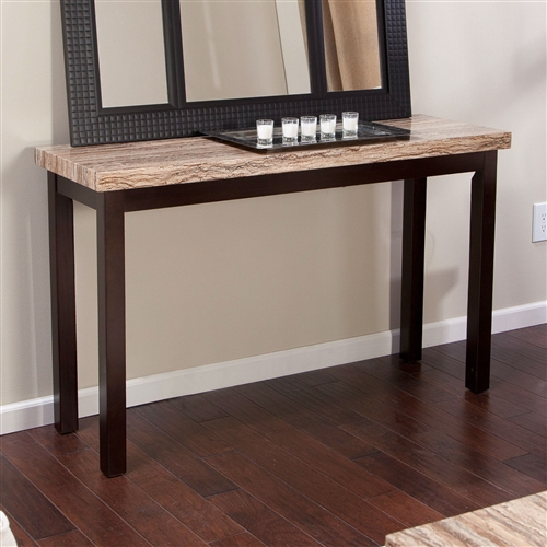 Solid Wood Frame Console Sofa Table In Espresso With Faux