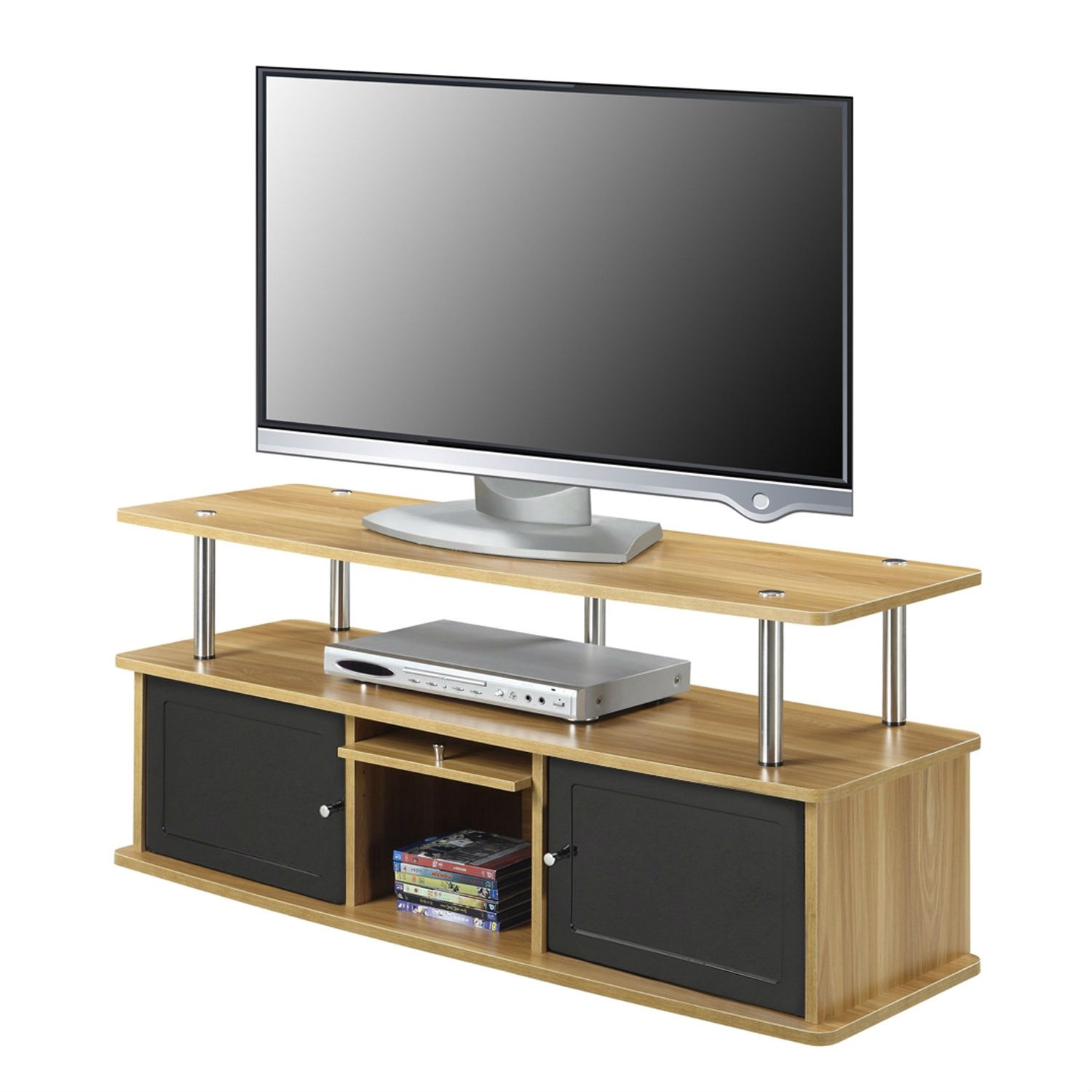 modern inch tv stand in light oak  black wood finish  - modern inch tv stand in light oak  black wood finish