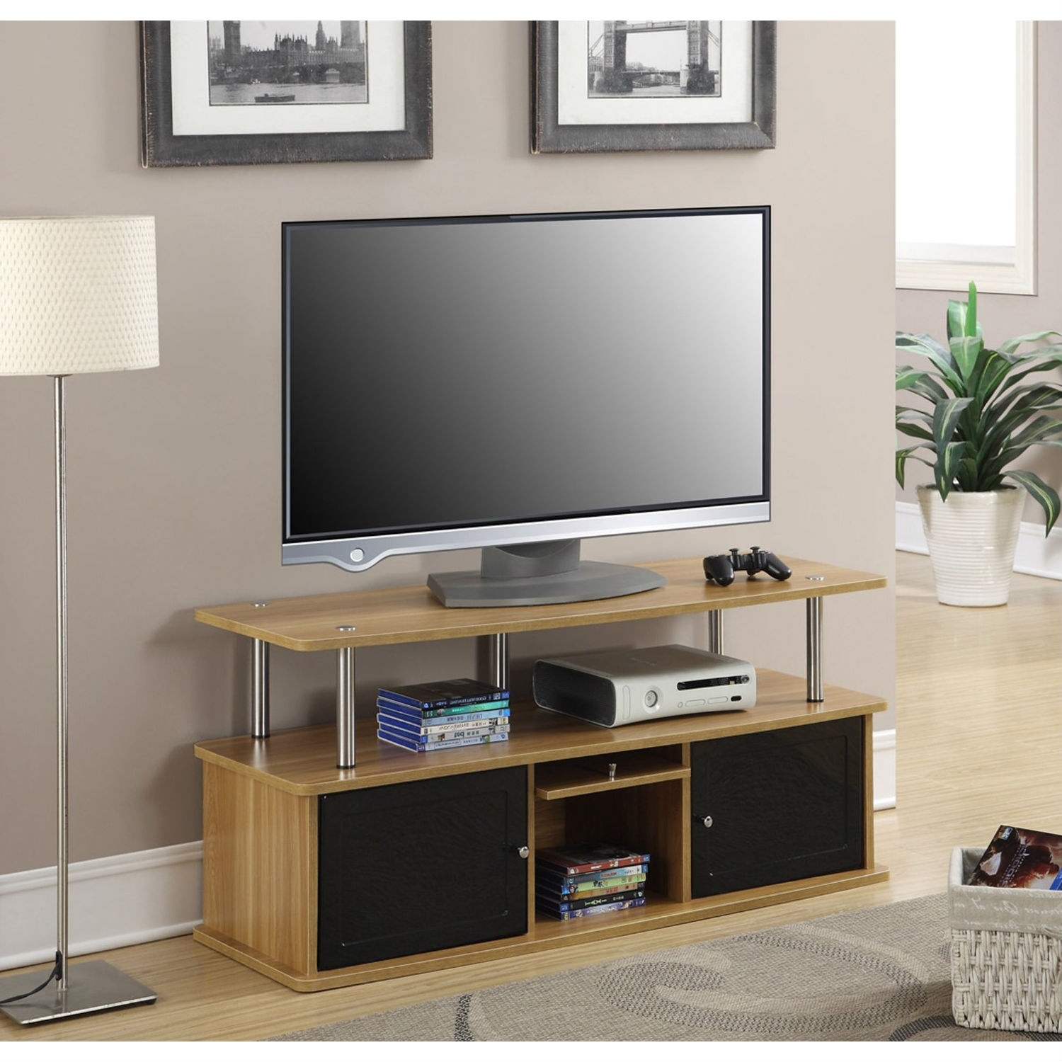 modern inch tv stand in light oak  black wood finish  - retail price