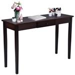 胡桃木棕木带抽屉沙发桌