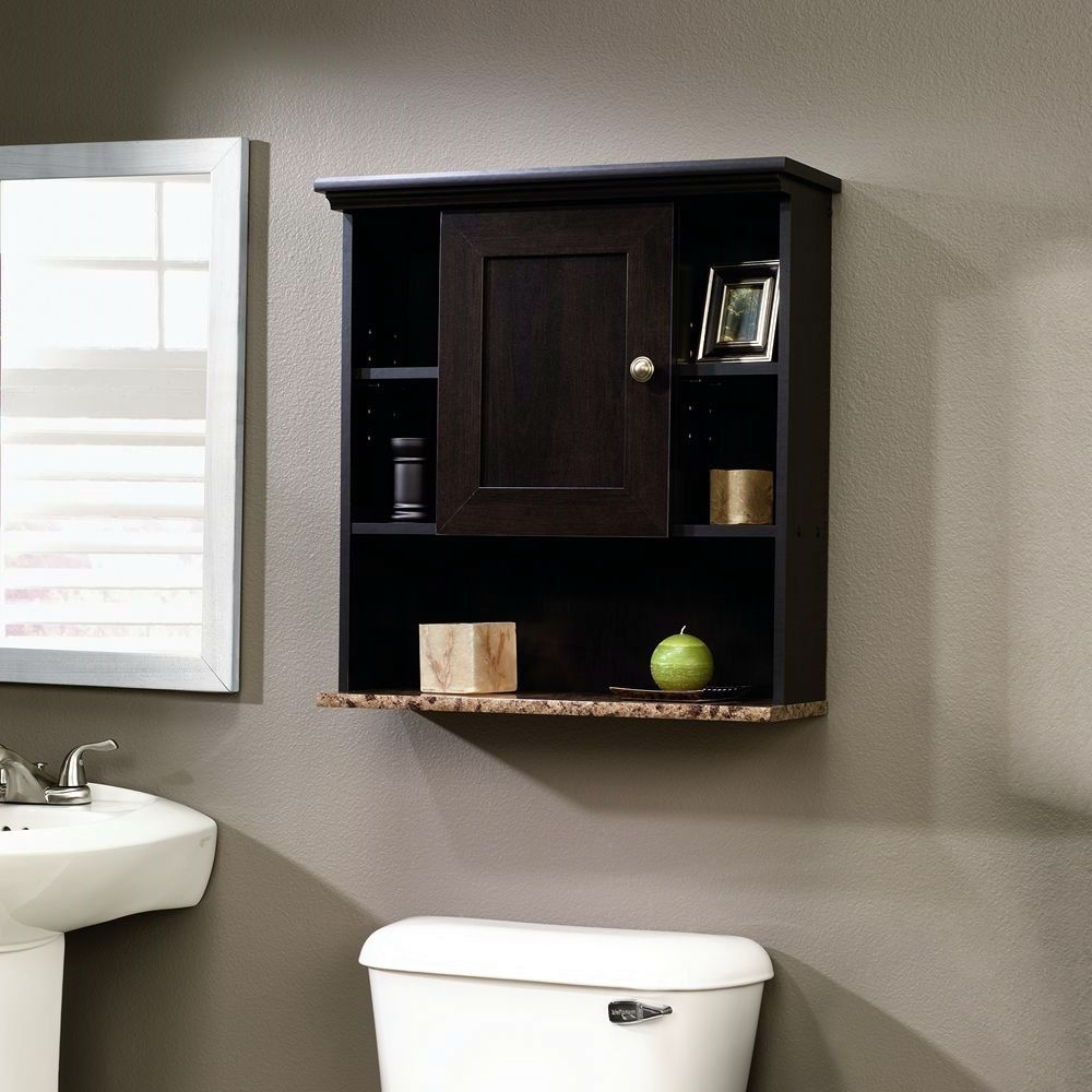 Bathroom Wall Cabinet with 3 Adjustable Shelves in Cinnamon Cherry ...