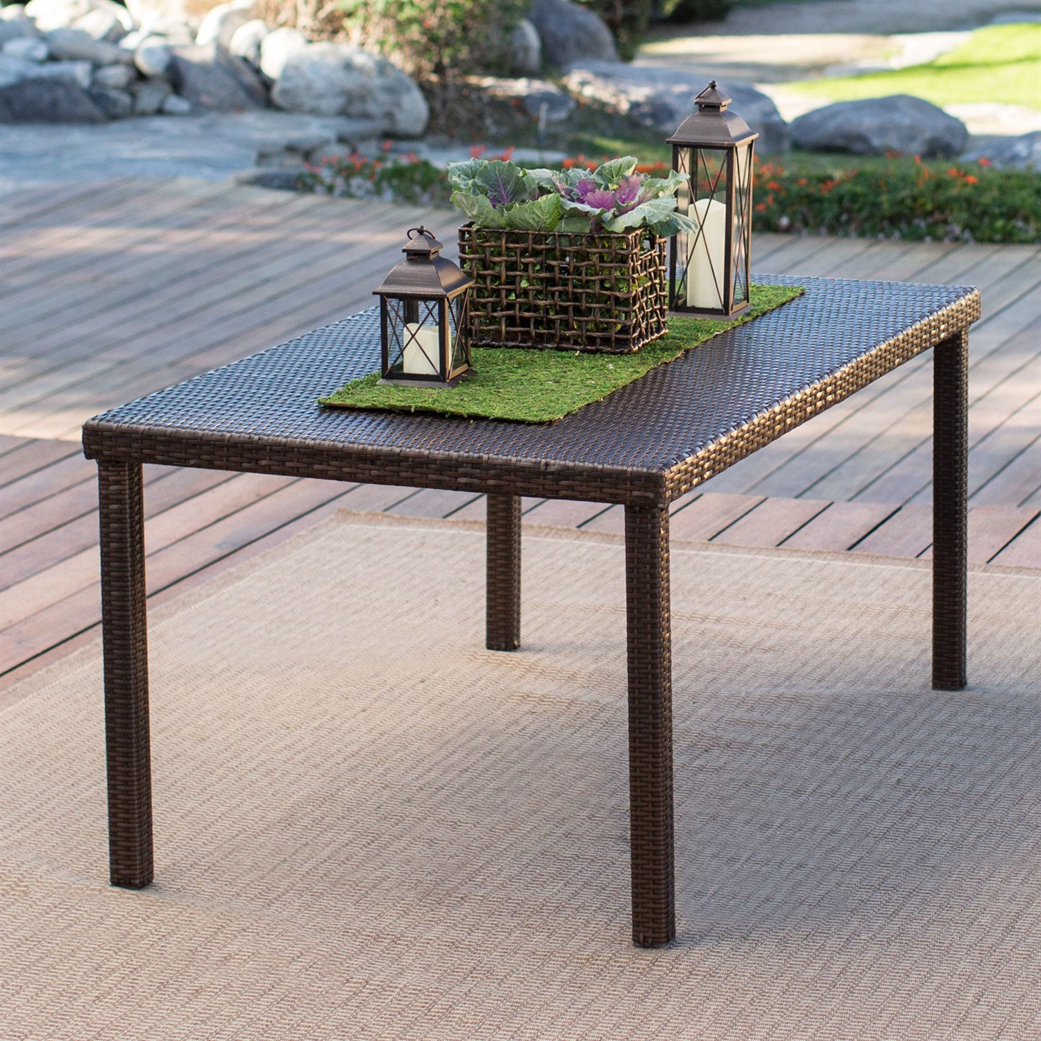 Dark Brown 63-inch Outdoor Resin Wicker Rectangular Patio Dining Table -  Seats 6 | FastFurnishings.com - Dark Brown 63-inch Outdoor Resin Wicker Rectangular Patio Dining