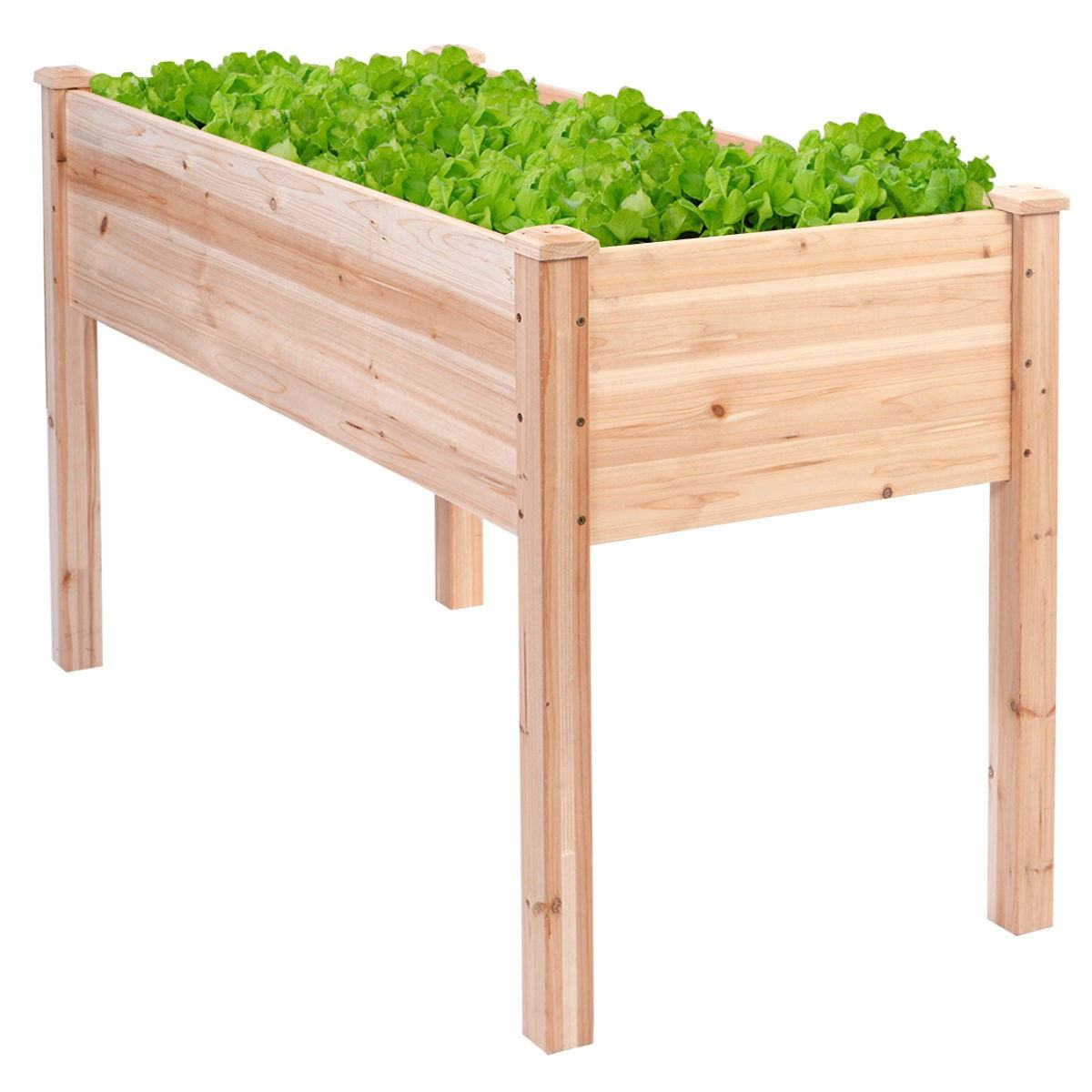 Solid Wood Cedar 30 Inch High Raised Garden Bed Planter Box    FastFurnishings.com