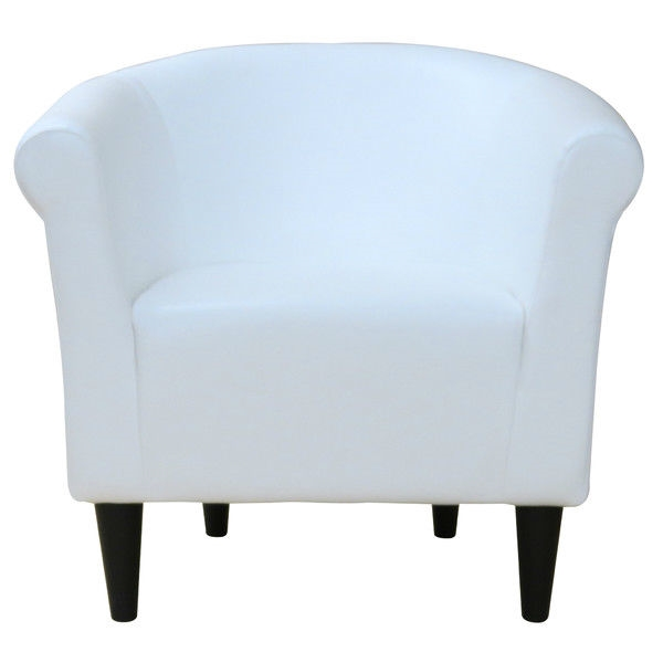Modern Clic White Faux Leather Upholstered Club Chair Made In Usa Fastfurnishings