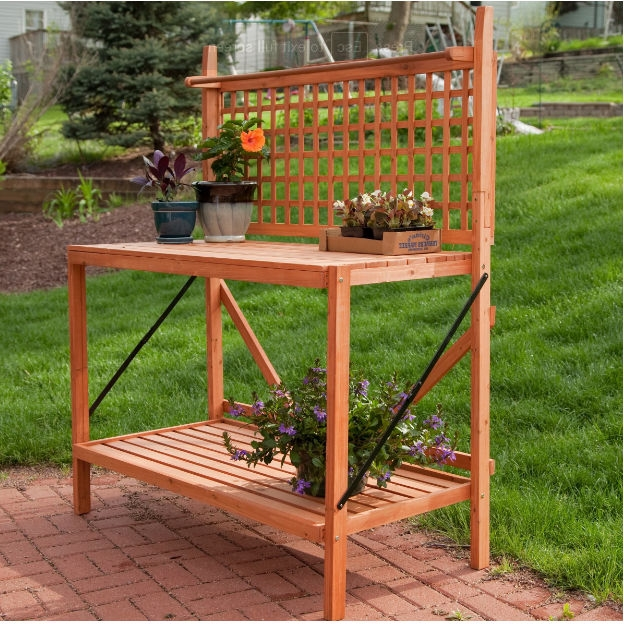 Sensational Outdoor Weather Resistant Fir Wood Potting Bench Garden Table With Lattice Back Ibusinesslaw Wood Chair Design Ideas Ibusinesslaworg