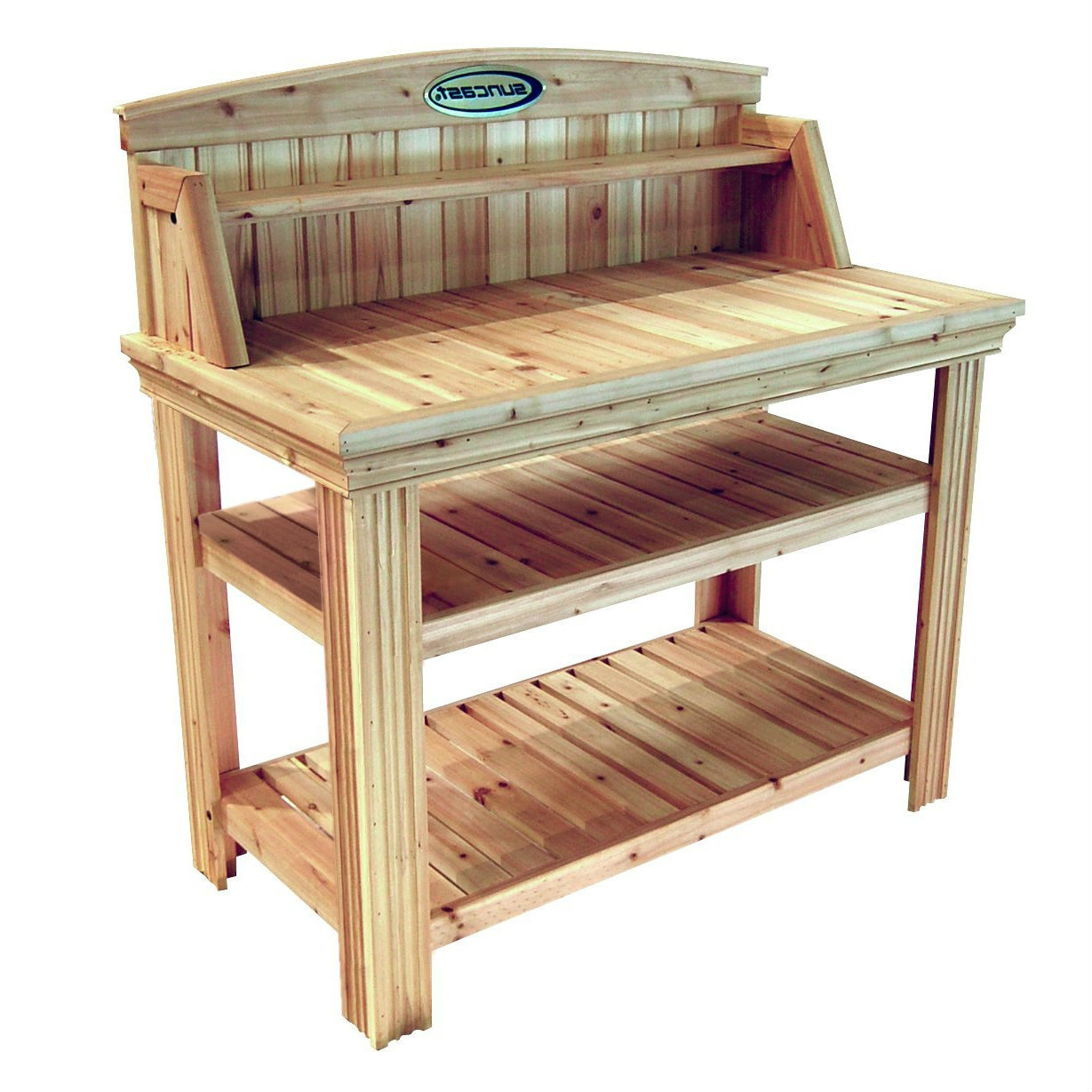 natural cedar wood potting bench garden work table with shelves - Garden Work Bench