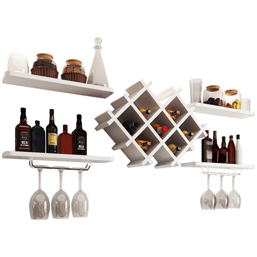 White 5-Piece Wall Mounted Wine Rack Set with Storage Shelves