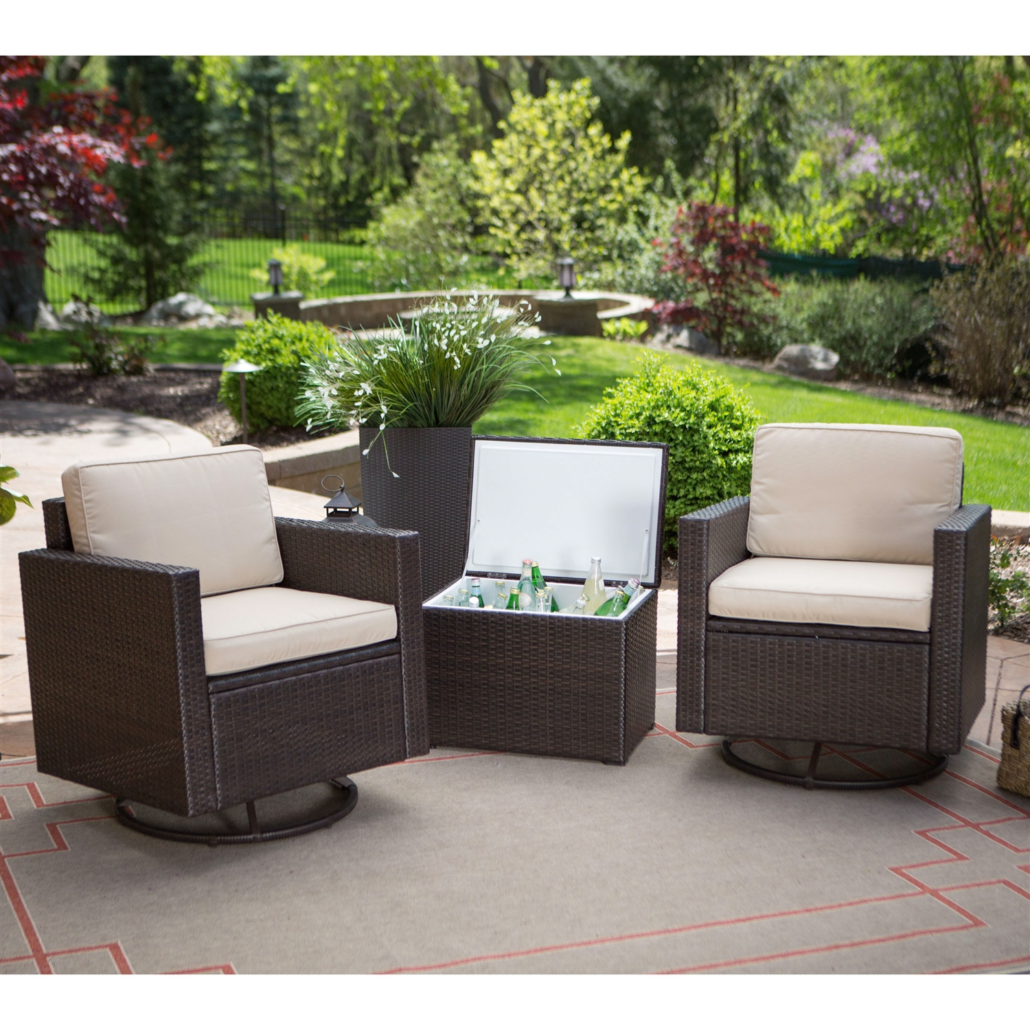 Outdoor Wicker Resin 3 Piece Patio Furniture Set With 2 Chairs And Cooler Storage Side