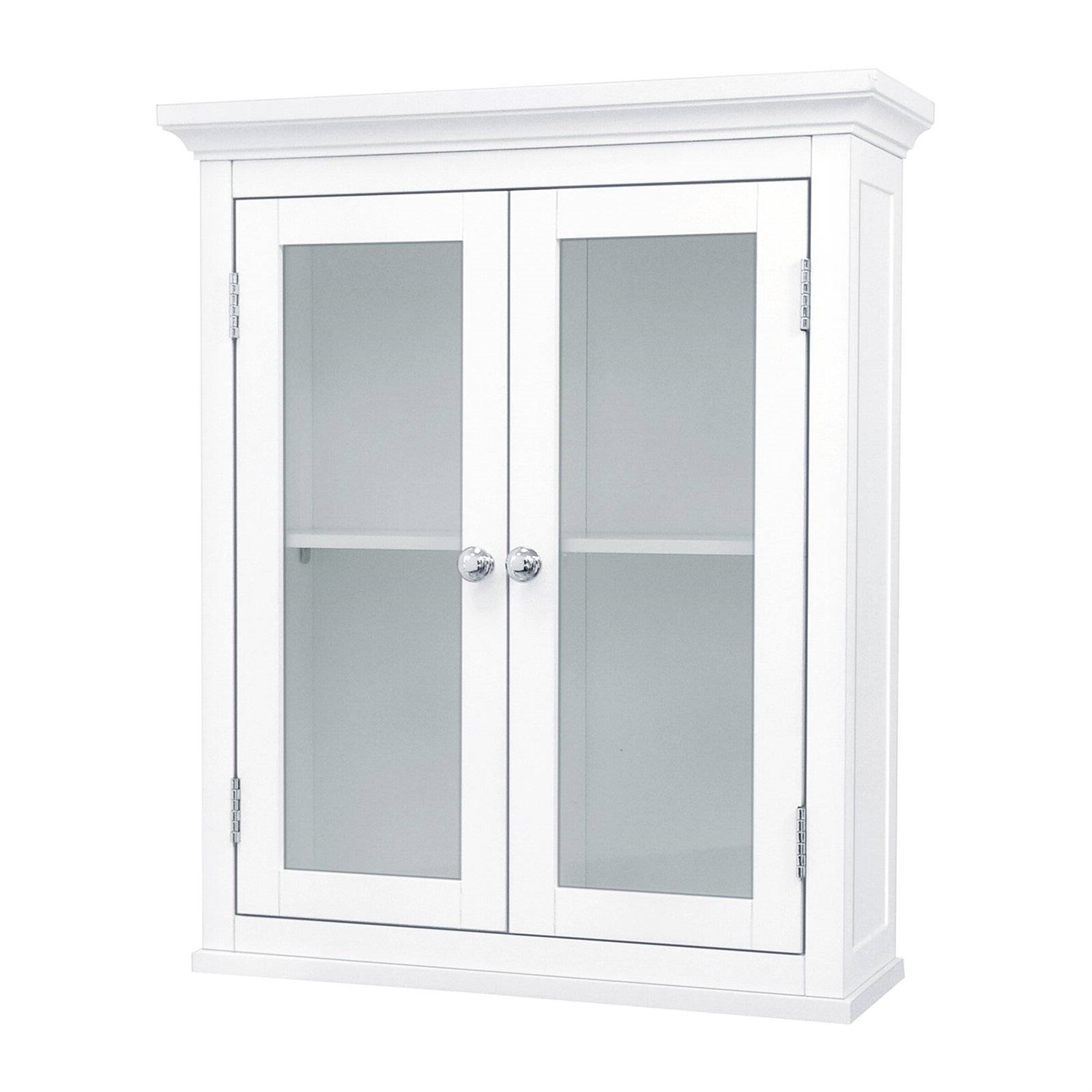 Classic 2-Door Bathroom Wall Cabinet in White Finish