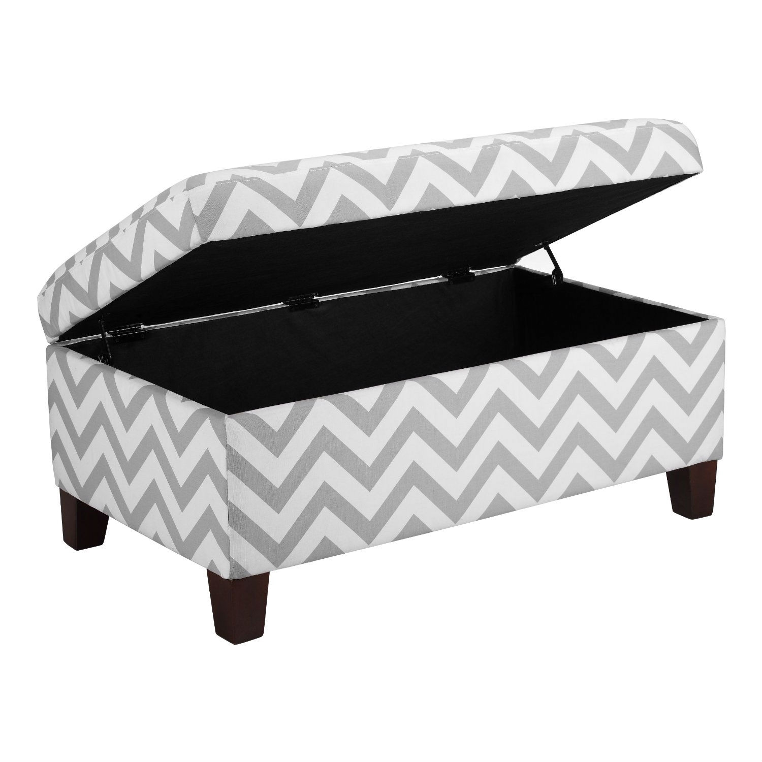 Grey White Chevron Stripe Padded Storage Ottoman Bench