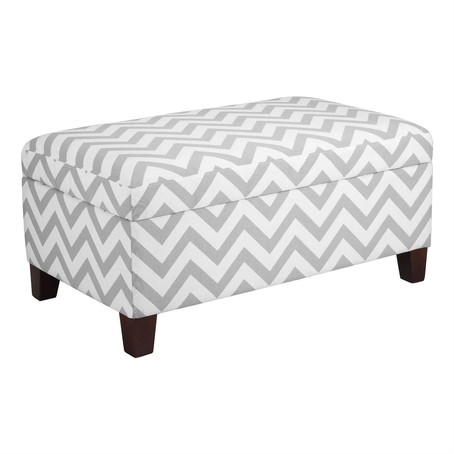 Grey & White Chevron Stripe Padded Storage Ottoman Bench ...