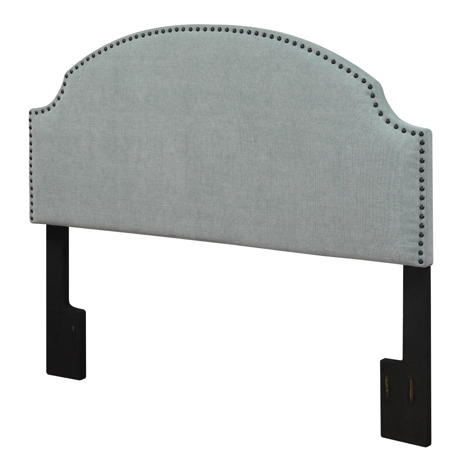 Full / Queen size Nailhead Upholstered Headboard in Soft Turquoise ...
